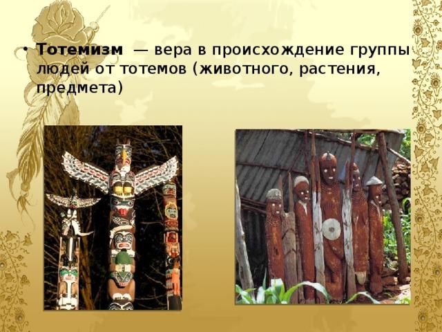 Тотемизм — вера в происхождение группы людей от тотемов (животного, растения, предмета)