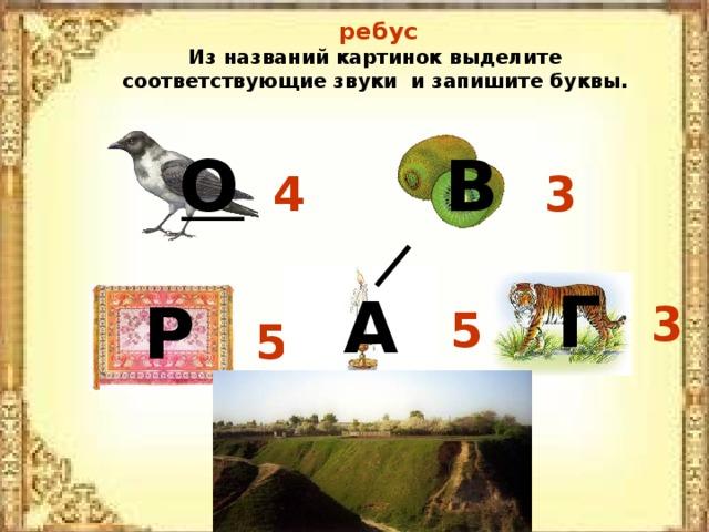 ребус Из названий картинок выделите соответствующие звуки и запишите буквы. О В 4 3 Г А Р 3 5 5