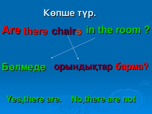 Бөлмеде Көпше түр. Are  in the room ? there   chair s орындықтар барма?  Yes,there are. No,there are not