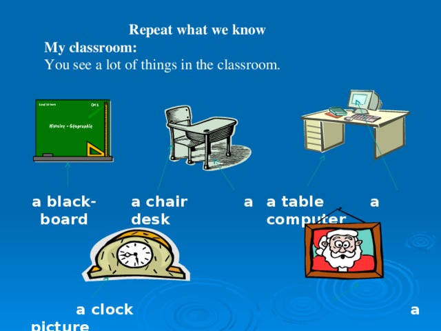 Repeat what we know My classroom: You see a lot of things in the classroom. a table a computer a chair a desk a black-board     a clock a picture