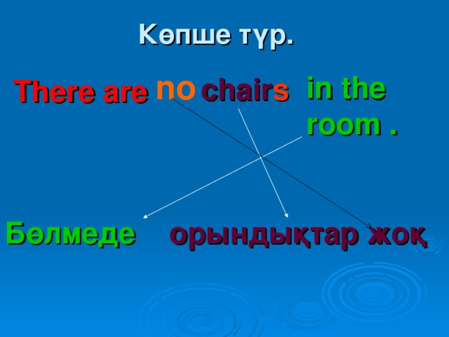 Бөлмеде Көпше түр.  chair s no in the room . There are орындықтар жоқ