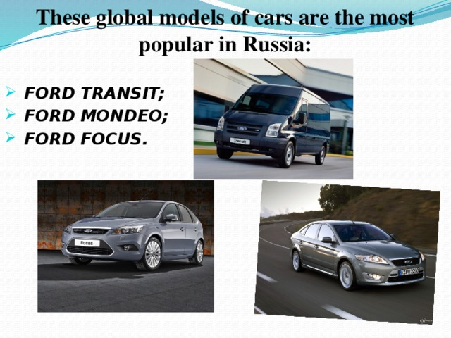 These global models of cars are the most popular in Russia: