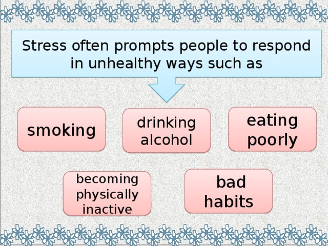 Stress often prompts people to respond in unhealthy ways such as smoking eating poorly drinking alcohol  bad habits becoming  physically inactive