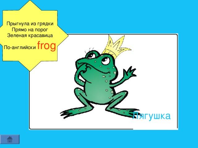 Прыгнула из грядки Прямо на порог Зеленая красавица По-английски frog Лягушка