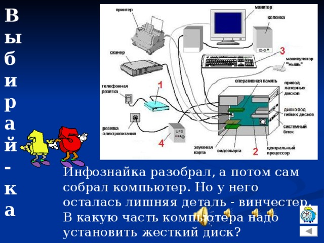 Выбирай-ка Инфознайка разобрал, а потом сам собрал компьютер. Но у него осталась лишняя деталь - винчестер. В какую часть компьютера надо установить жесткий диск?