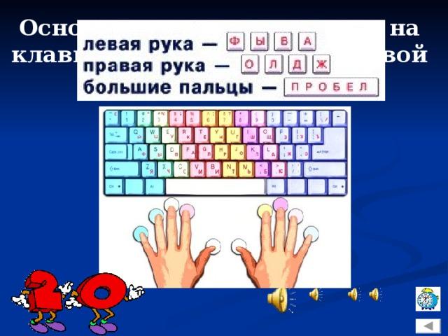 Основная позиция пальцев на клавиатуре для левой и правой рук?