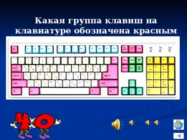 Какая группа клавиш на клавиатуре обозначена красным цветом?