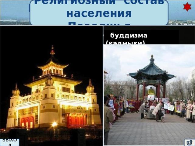 Религиозный состав Национальный состав населения Поволжья населения Поволжья Это единственный регион России, в котором проживают представители всех трёх мировых религий — христианства (русские, немцы); калмыки ислама (татары, казахи) и буддизма (калмыки) Национальный костюм мордва татары 75% Национальный русский костюм  русские  татары 16% калмыки, немцы, чуваши, мордва  9% Проанализируйте график, сделайте вывод ВЫХОД