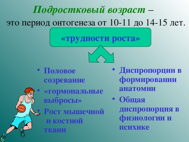 Подростковый возраст –   это период онтогенеза от 10-11 до 14-15 лет.   «трудности роста»