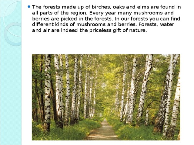 The forests made up of birches, oaks and elms are found in all parts of the region. Every year many mushrooms and berries are picked in the forests. In our forests you can find different kinds of mushrooms and berries. Forests, water and air are indeed the priceless gift of nature.