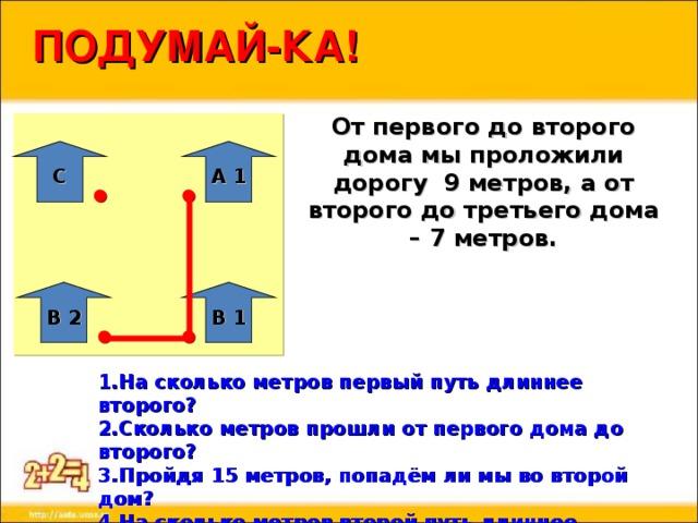 ПОДУМАЙ-КА! От первого до второго дома мы проложили дорогу 9 метров, а от второго до третьего дома – 7 метров. С А 1 В 1 В 2 1.На сколько метров первый путь длиннее второго? 2.Сколько метров прошли от первого дома до второго? 3.Пройдя 15 метров, попадём ли мы во второй дом? 4.На сколько метров второй путь длиннее первого? 5.Чему равен весь наш путь, если до этого мы шли по полю 8 метров?