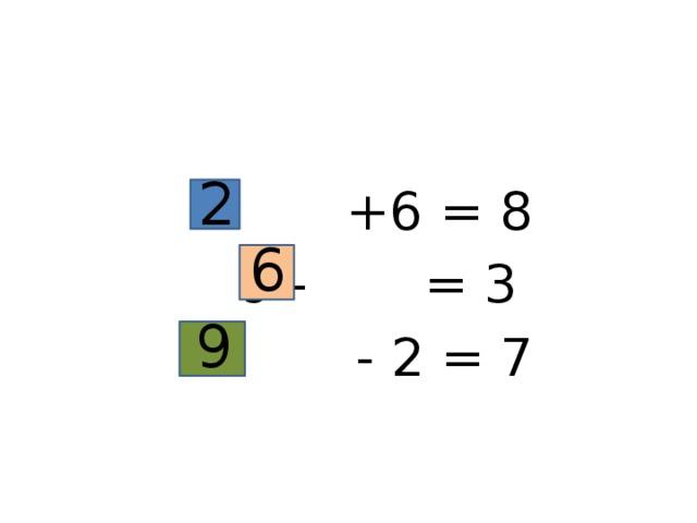 +6 = 8  9 - = 3  - 2 = 7 2 6 9