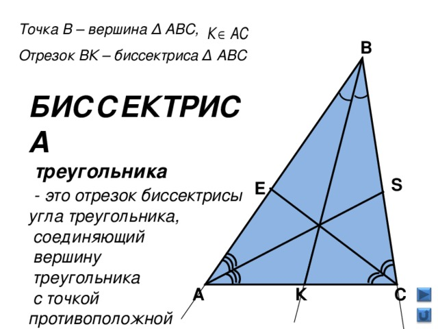 Точка В – вершина Δ АВС, Отрезок ВК – биссектриса Δ АВС В БИССЕКТРИСА  треугольника  - это отрезок биссектрисы угла треугольника,  соединяющий  вершину  треугольника  с точкой противоположной  стороны S E К С А