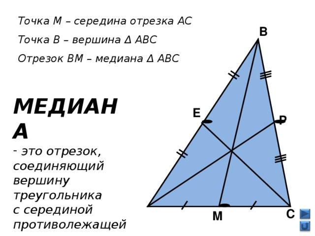 Точка М – середина отрезка АС Точка В – вершина Δ АВС Отрезок ВМ – медиана Δ АВС  В МЕДИАНА  это отрезок, соединяющий вершину треугольника с серединой противолежащей стороны    Е Р  А  С М