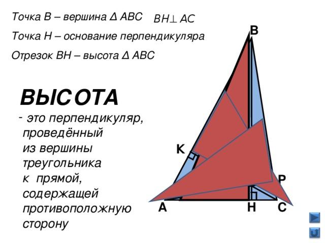 Точка В – вершина Δ АВС Точка Н – основание перпендикуляра Отрезок ВН – высота Δ АВС  В ВЫСОТА  это перпендикуляр,  проведённый  из вершины  треугольника  к прямой,  содержащей  противоположную  сторону  К Р С Н А 6