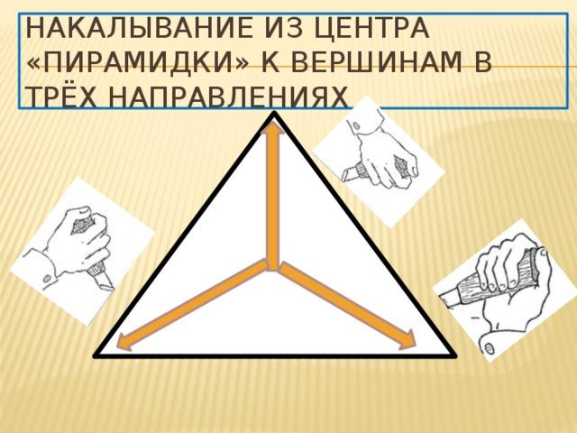Накалывание из центра «пирамидки» к вершинам в трёх направлениях