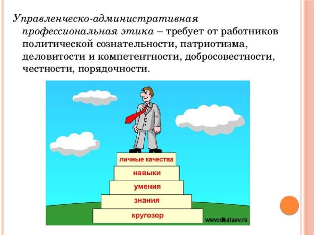 Управленческо-административная профессиональная этика – требует от работников политической сознательности, патриотизма, деловитости и компетентности, добросовестности, честности, порядочности.