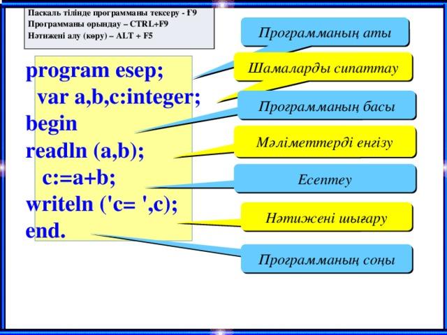 Паскаль тілінде программаны тексеру - Ғ9 Программаны орындау – CTRL+F9 Нәтижені алу (көру) – ALT + F5 Программаның аты Шамаларды сипаттау program esep;  var a,b,c:integer; begin readln (a,b);  c:=a+b; writeln ('с= ',c); end. Программаның басы Мәліметтерді енгізу Есептеу Нәтижені шығару Программаның соңы