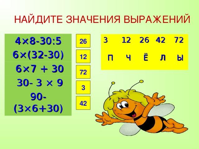НАЙДИТЕ ЗНАЧЕНИЯ ВЫРАЖЕНИЙ 4×8-30:5 6×(32-30)  6×7 + 30  30- 3 × 9 90-(3×6+30) 26 3 12 П Ч 26 42 Ё 72 Л Ы 26 4 2 Ё 1 2 Л 3 Ч 72 П Ы 12 72 3 42