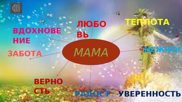 ЛЮБОВЬ ТЕПЛОТА  ВДОХНОВЕНИЕ МАМА  НЕЖНОСТЬ  ЗАБОТА ВЕРНОСТЬ УВЕРЕННОСТЬ РАДОСТЬ