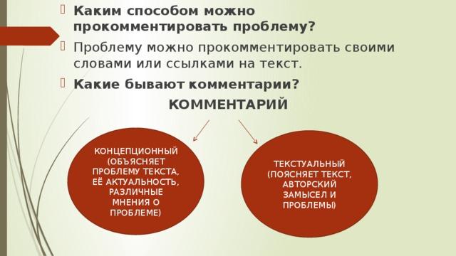 Каким способом можно прокомментировать проблему? Проблему можно прокомментировать своими словами или ссылками на текст. Какие бывают комментарии?