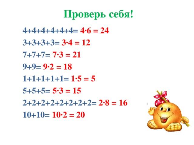 Проверь себя! 4+4+4+4+4+4=  4∙6 = 24 3+3+3+3=  3∙4 = 12 7+7+7=  7∙3 = 21 9+9=  9∙2 = 18 1+1+1+1+1= 1∙5 = 5 5+5+5=  5∙3 = 15 2+2+2+2+2+2+2+2=  2∙8 = 16 10+10=  10∙2 = 20