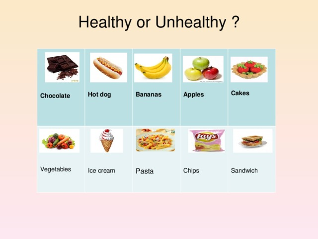 Healthy or Unhealthy ?     Vegetables Chocolate      Ice cream Hot dog              Bananas Pasta Chips Apples     Sandwich Cakes