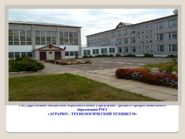 Государственное бюджетное образовательное учреждение среднего профессионального образования РМЭ  «АГРАРНО – ТЕХНОЛОГИЧЕСКИЙ ТЕХНИКУМ»