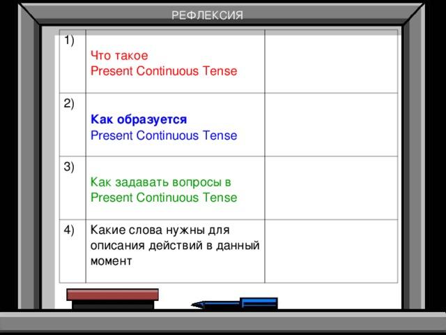 РЕФЛЕКСИЯ 1) Что такое Present Continuous Tense 2)  Как образуется Present Continuous Tense 3) Как задавать вопросы в Present Continuous Tense 4) Какие слова нужны для описания действий в данный момент