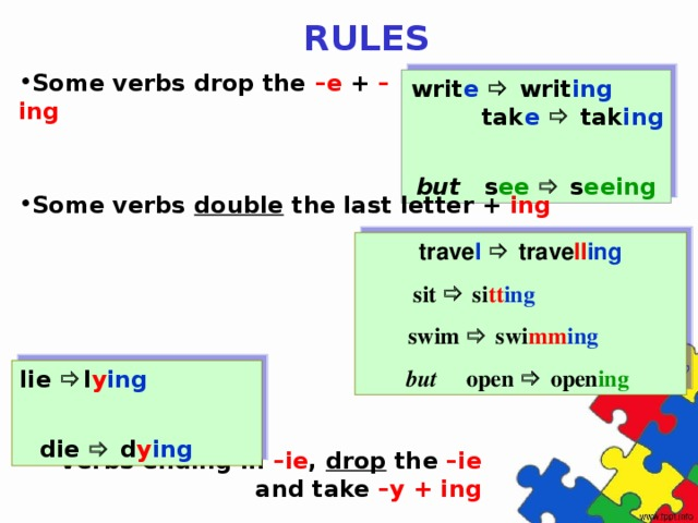 RULES Some verbs drop the –e + –ing  writ e   writ ing tak e   tak ing but  s ee   s eeing Some verbs double the last letter + ing trave l   trave ll ing sit  si tt ing  swim  swi mm ing but  open   open ing  lie  l y ing  die  d y ing