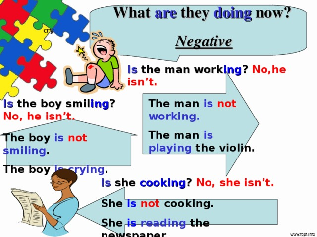 What are they doing now?  Negative cry Is the man work ing ? No,he isn't. Is the boy smil ing ? No, he isn't. The man is not working. The man is playing  the violin. The boy is not smiling . The boy is crying . Is she cooking ? No, she isn't.  She is not cooking. She is  reading  the newspaper.