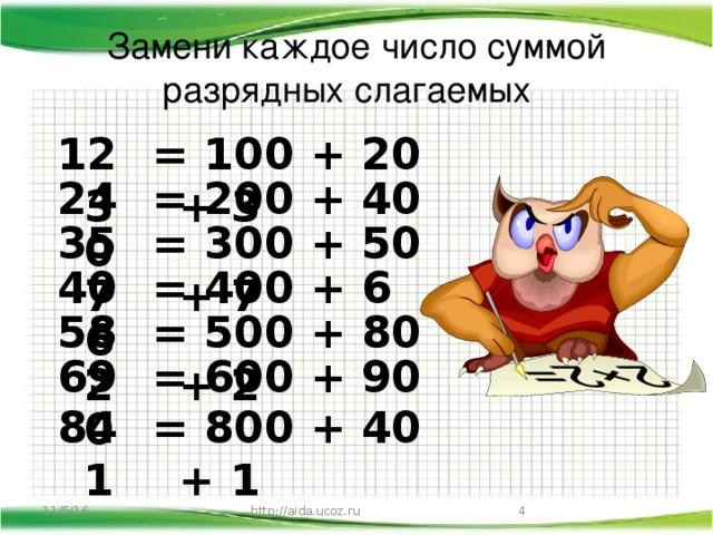 Замени каждое число суммой разрядных слагаемых 123 = 100 + 20 + 3 240 = 200 + 40 = 300 + 50 + 7 357 406 = 400 + 6 582 = 500 + 80 + 2 690 = 600 + 90 841 = 800 + 40 + 1  11/5/16 http://aida.ucoz.ru