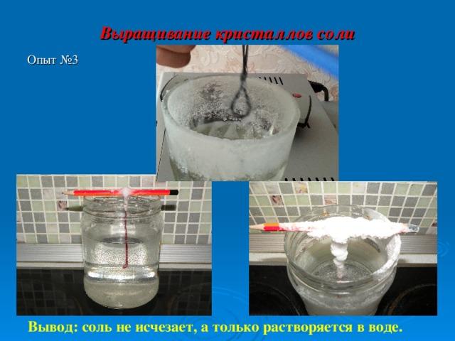 Выращивание кристаллов соли   Опыт №3 Вывод: соль не исчезает, а только растворяется в воде.