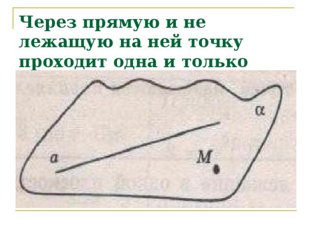 Через прямую и не лежащую на ней точку проходит одна и только одна плоскость