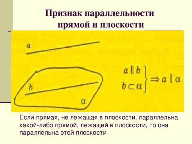 Признак параллельности  прямой и плоскости   Если прямая, не лежащая в плоскости, параллельна какой-либо прямой, лежащей в плоскости, то она параллельна этой плоскости