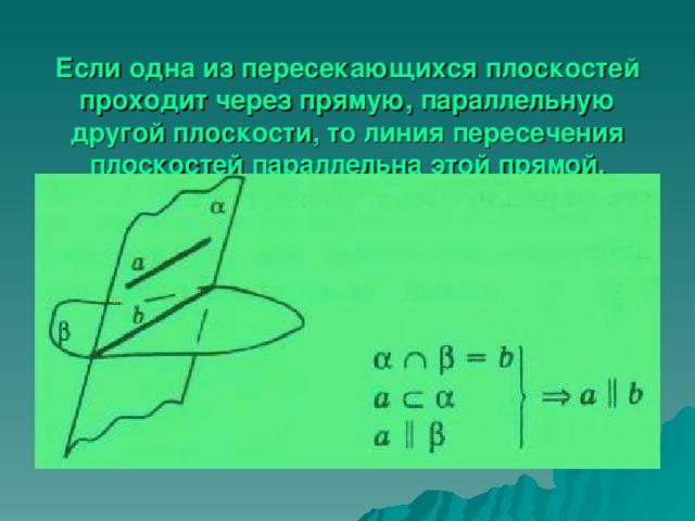 Если одна из пересекающихся плоскостей проходит через прямую, параллельную другой плоскости, то линия пересечения плоскостей параллельна этой прямой.