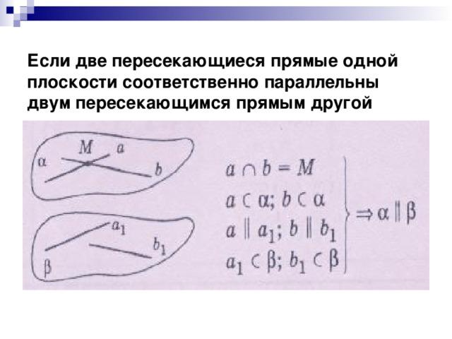 Если две пересекающиеся прямые одной плоскости соответственно параллельны двум пересекающимся прямым другой плоскости, то эти плоскости параллельны
