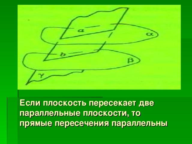 Если плоскость пересекает две параллельные плоскости, то прямые пересечения параллельны