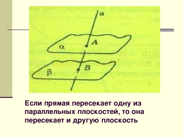 Если прямая пересекает одну из параллельных плоскостей, то она пересекает и другую плоскость