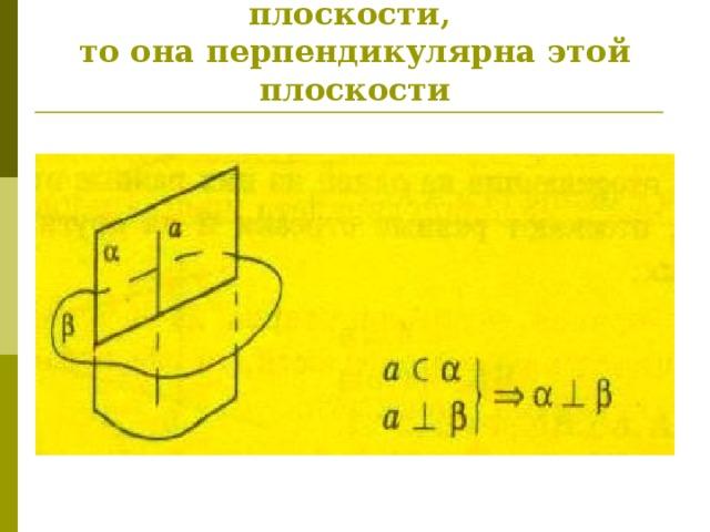 Если плоскость проходит через перпендикуляр к другой плоскости,  то она перпендикулярна этой плоскости