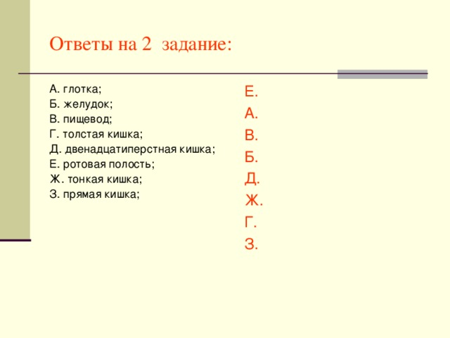 Ответы на 2 задание: А. глотка; Б. желудок; В. пищевод; Г. толстая кишка; Д. двенадцатиперстная кишка; Е. ротовая полость; Ж. тонкая кишка; З. прямая кишка; Е. А. В. Б. Д. Ж. Г. З.