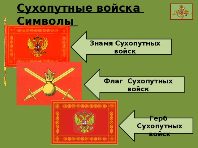 Сухопутные войска Символы Знамя Сухопутных войск Флаг Сухопутных войск Герб Сухопутных войск