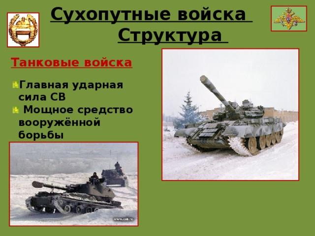 Сухопутные войска Структура Применяются: Отличительные особенности: Танковые войска