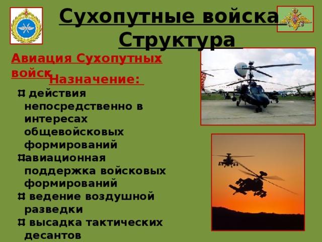 Сухопутные войска Структура Авиация Сухопутных войск Назначение:
