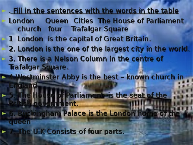 . Fill in the sentences with the words in the table