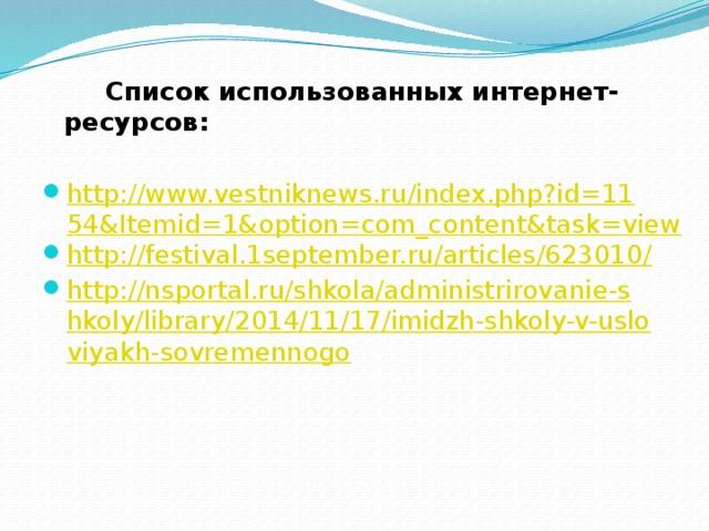 Список использованных интернет-ресурсов: