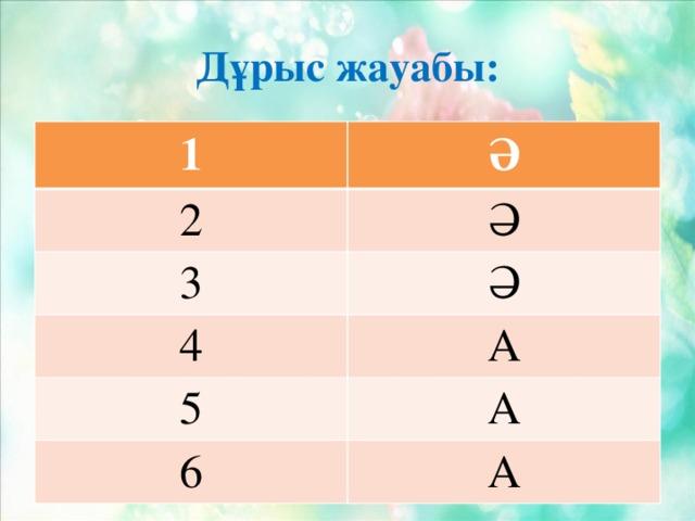 Дұрыс жауабы: 1 Ә 2 Ә 3 Ә 4 А 5 А 6 А