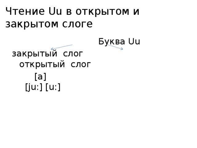 Чтение Uu в открытом и закрытом слоге  Буква Uu закрытый слог открытый слог  [a] [ju:] [u:]
