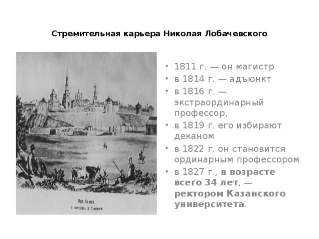 Стремительная карьера Николая Лобачевского