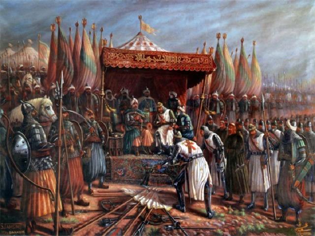 Салах ад-Дин окружил и разгромил в сражении крупные силы крестоносцев. Лишь несколько сот воинов спаслись бегством. Множество знатных феодалов во главе с иерусалимским королем и великим магистром ордена тамплиеров попали в плен.
